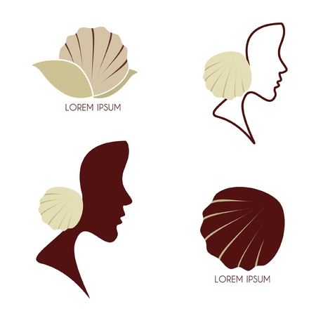 Set - Stylized profile of a woman with seashell Illustration