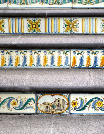 majolica: Staircase with features Sicilian ceramics