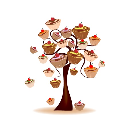 Abstract Design - Tree decorated with sweets Vector