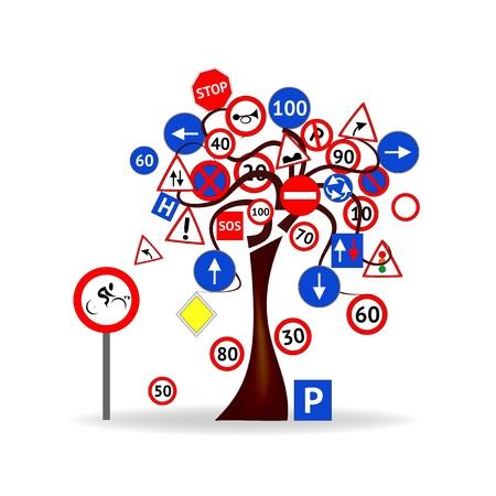 divieto: Abstract Design - Albero con i segnali stradali