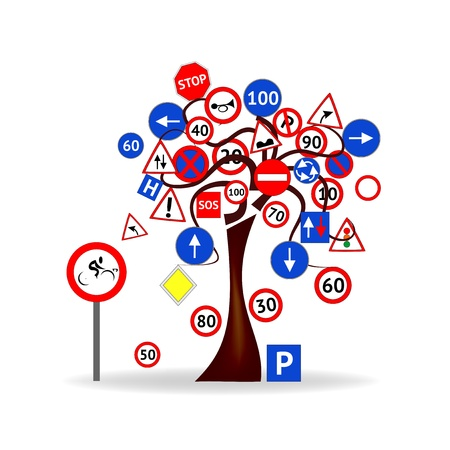 cars parking: Abstract Design - Tree with traffic signals