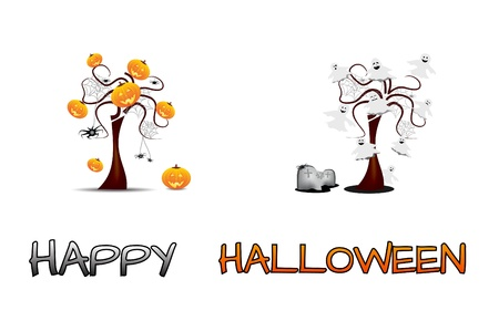 Set - Halloween trees with luminous ghosts and pumpkins photo
