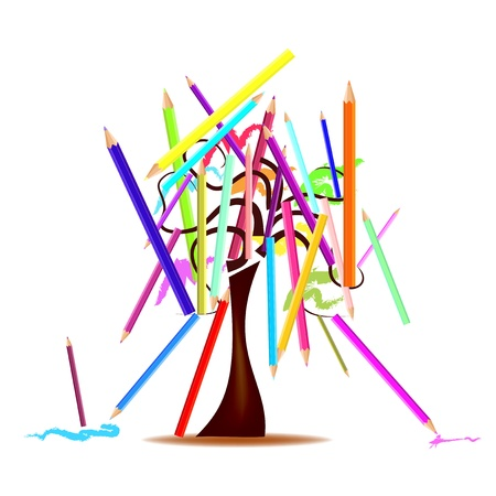 Abstract illustration - tree with colored pencils Vector