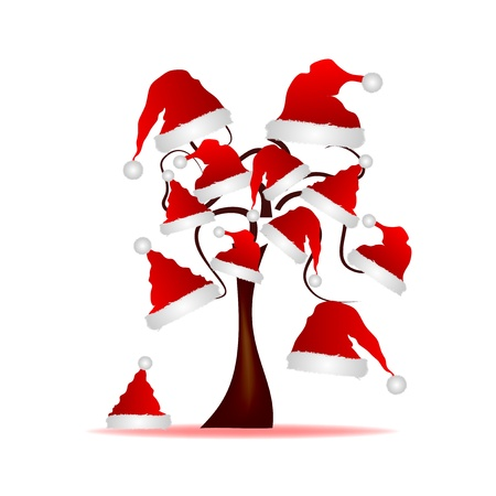 Abstract illustration - tree with red hat of Santa Claus Vector