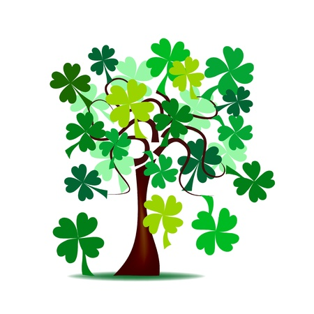Abstract - St  Patrick s tree, with green shamrocks Vector