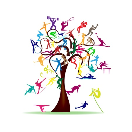 advertising icon: Abstract illustration - tree with colorful sport icons
