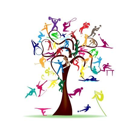 Résumé illustration - arbre avec des icônes du sport colorées Vecteurs