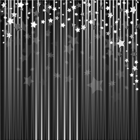 Silver abstract background with bright stars photo