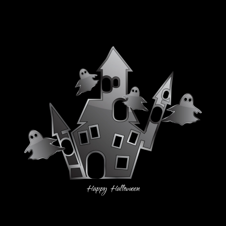Abstract Design - castle with ghosts on a black background Stock Vector - 22096502