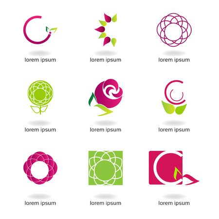 Graphic design - set with flowers of different colors and shapes Stock Vector - 22508843