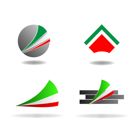 communicative: Abstract graphic design - geometric shapes with Italian colors