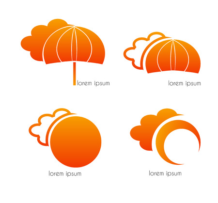 Graphic design - clouds, umbrella and sun, orange Vector