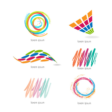 communicative: Abstract graphic designs - set with different shapes and colors