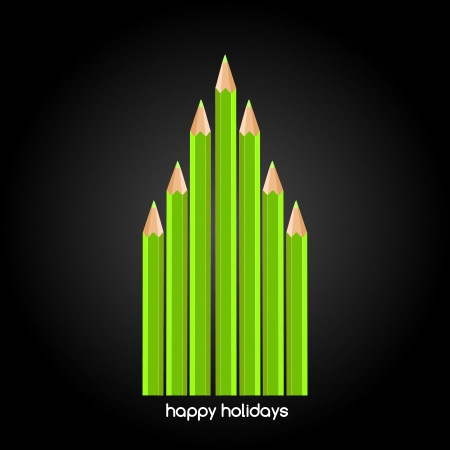 Graphic design - pencils forming a green christmas tree Vector