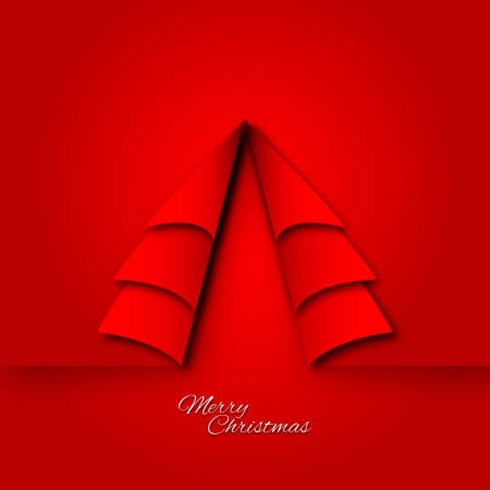 Graphic design - folded paper christmas tree shape Vector