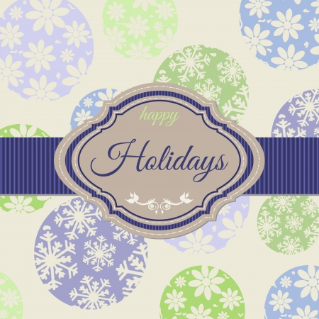 Background with christmas balls and space for text, vintage Vector