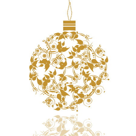 Graphic Design - Christmas ball with floral decorations, vintage Vector