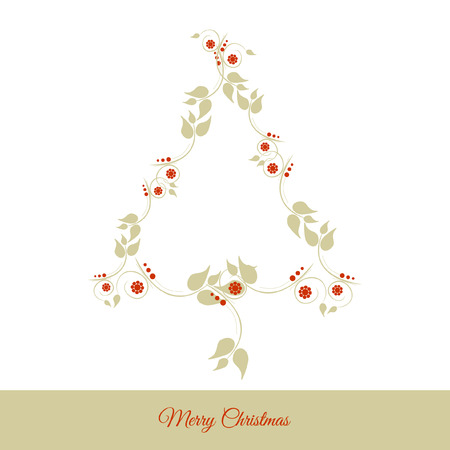 Graphic design - Christmas tree floral, vintage Vector