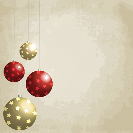 Vintage background with Christmas balls decorated, 3d effect Vector