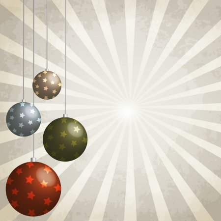 christams: Vintage background with Christmas balls decorated, 3d effect