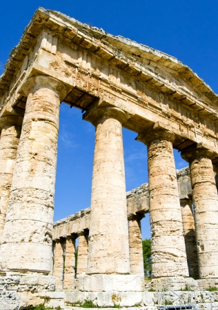 Ancient temple of Segesta in the valley - Trapani, Sicily  photo