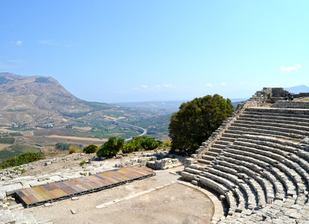 segesta: Ancient amphitheater of Segesta Valley - Trapani, Sicily