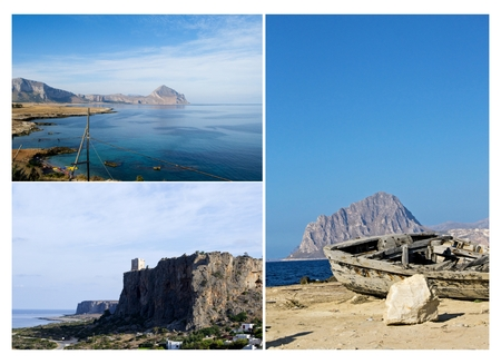 Coastline with ancient boat and Mount Cofano - Trapani, Sicily