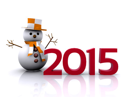 3D illustration - snowman to welcome the new year 2015 illustration