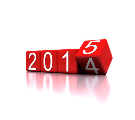 new entry: 3D illustration - dice with new year 2015 Stock Photo