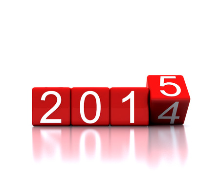 replaced: 3D illustration - dice with new year 2015 Stock Photo