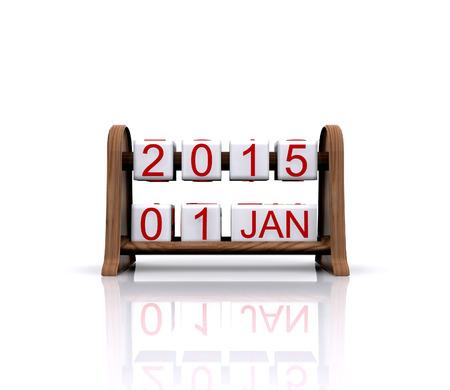3D illustration - date, January 1, 2015, new year illustration