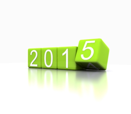 3D illustration - dice with new year 2015, green illustration