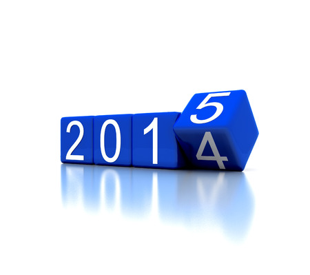3D illustration - dice with new year 2015 illustration