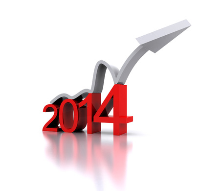 3D illustration - a recovery in the New Year 2014 illustration