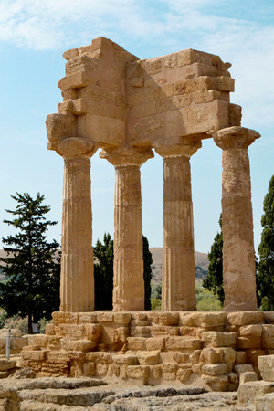 agrigento: Temple of the Dioscuri - Valley of the Temples, Agrigento Stock Photo
