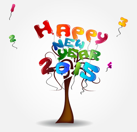 Illustration with tree and balloons - happy new year 2015 Vector