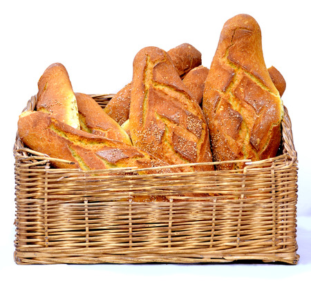 Composition with bread basket of different specialties photo