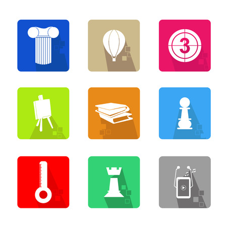 Business icons set color, with shadow and pixel Vector