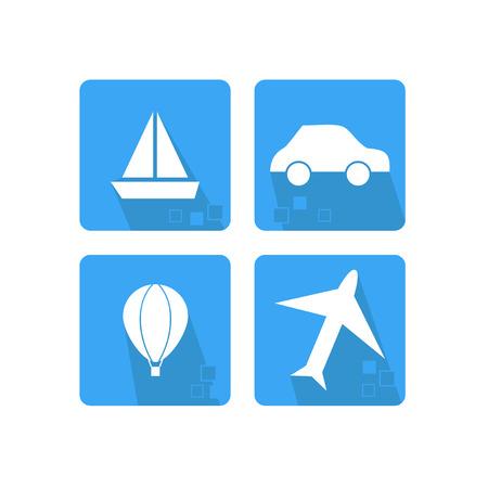 Set di icone di mezzi di trasporto - auto, aereo, mongolfiera, nave