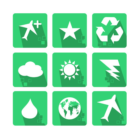 Main icons Set of nature, with shadow and pixel - Green Vector