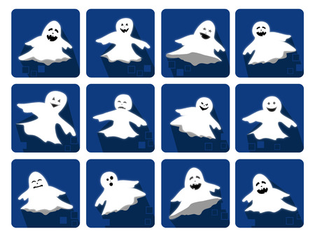 Icons set with funny ghosts for Halloween Party Vector