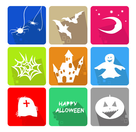 Icons set for the halloween party with the main objects Vector
