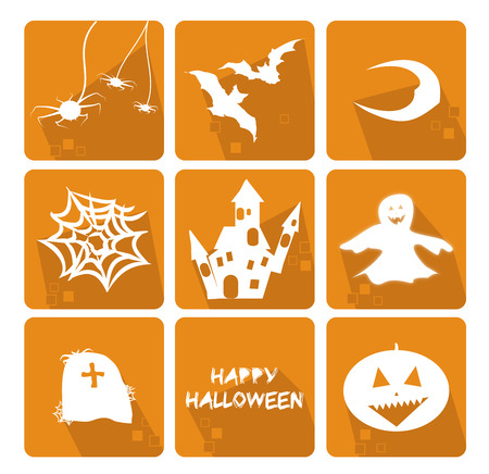 spider' s web: Icons set for the halloween party with the main objects