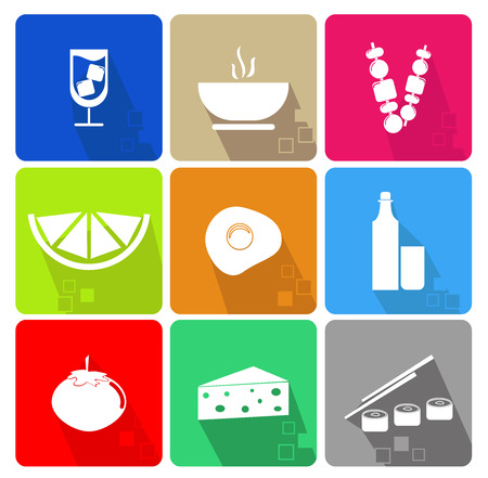 cuisines: Food icons set with different colors