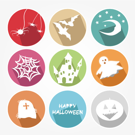 cons: Icons set for the halloween party with the main objects
