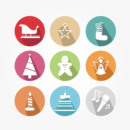 Christmas icons set with objects typical of the party Vector