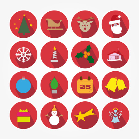 Set of Christmas icons with the main object of the feast Vector
