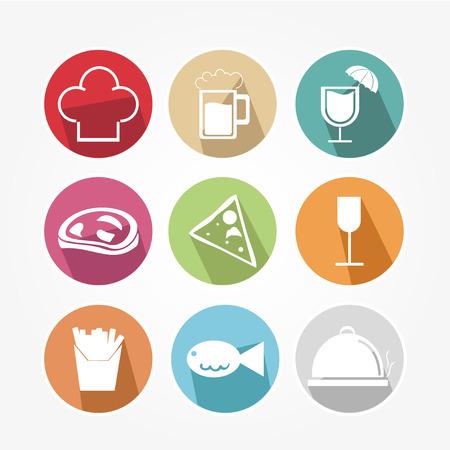 fine cuisine: Icone dell'alimento impostate con colori diversi Vettoriali