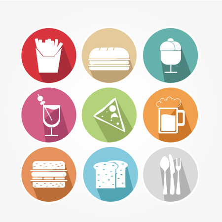 food icons: Food icons set with different colors