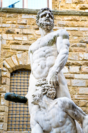 episodes: Hercules and Cacus in Piazza della Signoria - Florence Stock Photo
